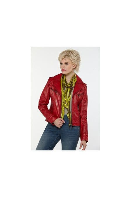 Women Leather Jacket in Red